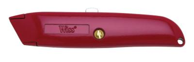 WISS Retractable Utility Knives, 6 in, Heavy Duty Steel Blade, Steel, Red