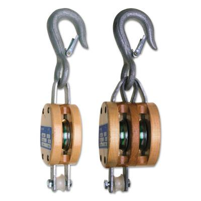 "CAMPBELL Manila Rope Regular Wood Shell Blocks, 1 Wheel, 1,800 lb, 3/4"" Cable, Fixed Hook"