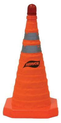 CROWN Collapsible Safety Cones, 18 in, Nylon, Orange