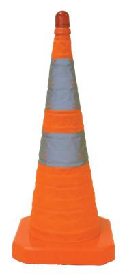 CROWN Collapsible Safety Cones, 28 in, Nylon, Orange