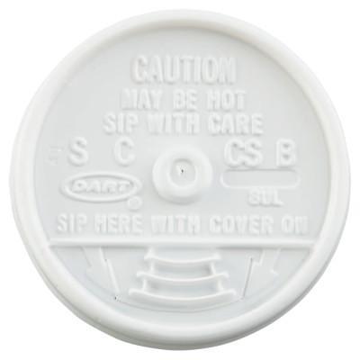 DART Sip-Thru Lids, Use With 8J8, White, 1,000 per case
