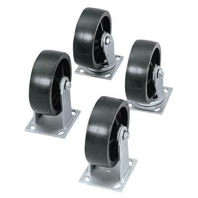 JOBOX Heavy-Duty Casters, 4 in, 2 Fixed; 2 Swivel