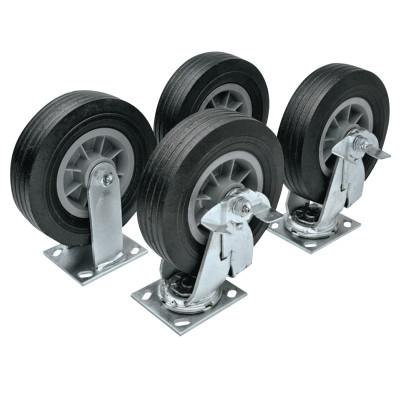 JOBOX Heavy-Duty Casters, 6 in, 2 Fixed; 2 Swivel