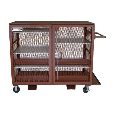 JOBOX Mesh Cabinets, 65 in x 33 in x 55 in, 2 Door, 1500 lb Cap., Brown