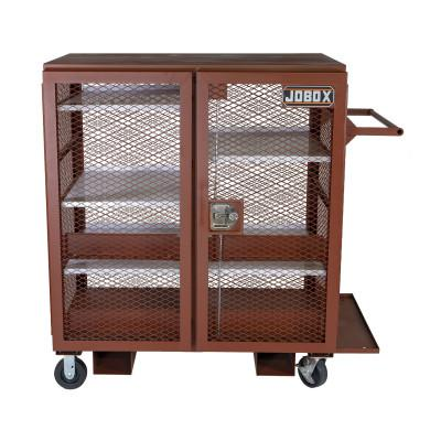 JOBOX Mesh Cabinets, 48 in x 33 in x 55 in, 2 Door, 1400 lb Cap., Brown