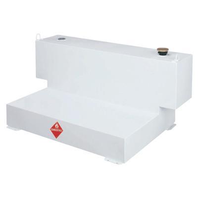 JOBOX Liquid Transfer Tanks f/4-Door Trucks, L-Shaped, 98 gal to 106 gal, Steel, White