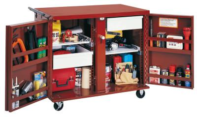 JOBOX Rolling Work Benches, 43 7/8W x 26 7/8D x 38 1/2H, 2 Drawers, 2 Shelves