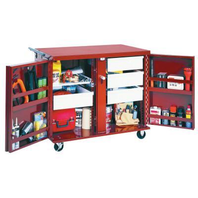 JOBOX Rolling Work Benches, 43 7/8W x 26 7/8D x 40 1/2H, 2 Doors, 2 Drawers, 2 Shelves