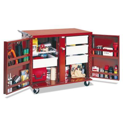 JOBOX Rolling Work Benches, 43 7/8W x 26 7/8D x 38 1/2H, 2 Doors, 4 Drawers, 1 Shelf