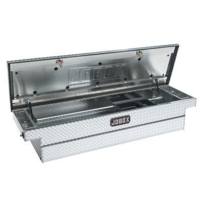 """JOBOX Low Profile Premium Crossover Tool Box, 71""""W x 20 1/8""""D x 15""""H, Bright Aluminum"""