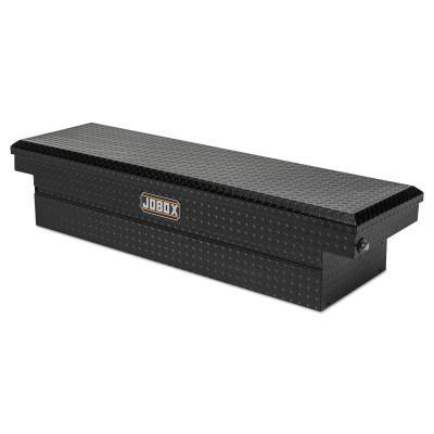 """JOBOX Low Profile Premium Crossover Tool Boxes, 71""""W x 20 1/8""""D x 15""""H, Aluminum, BK"""