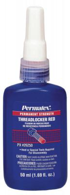 PERMATEX Permanent Strength Red Threadlockers, 50 mL, 1 in Thread, Red
