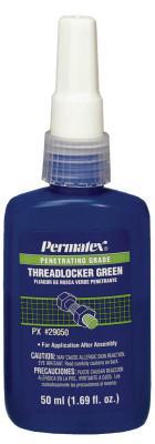 PERMATEX Penetrating Grade Green Threadlockers, 50 mL, 1/2 in Thread, Green