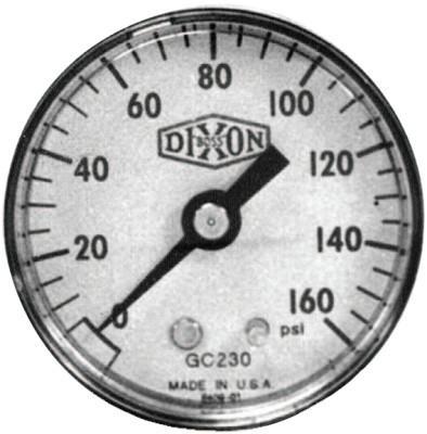 DIXON VALVE 2 in Standard Dry Gauge, 60 psi, ABS, 1/4 in NPT(M), Center Back Mount