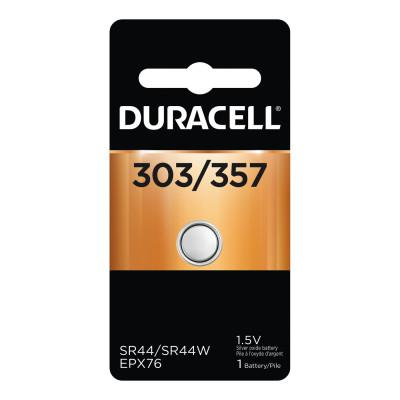 DURACELL Watch/EleCTronic Battery, Silver Oxide, 1.5V, 357/303, 1 EA/PK
