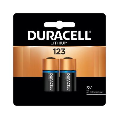 DURACELL Lithium Battery, 3V, 123, 2/PK
