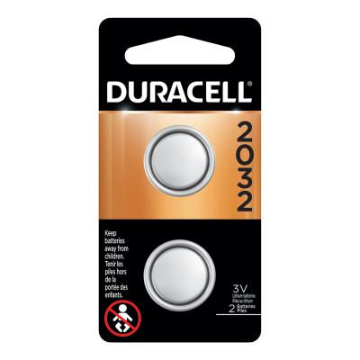 DURACELL Lithium Battery, Coin Cell, 3V, 2032, 2/PK