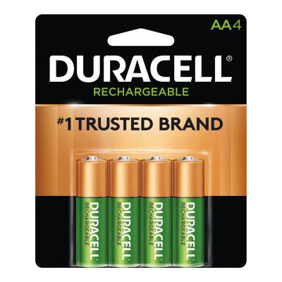 DURACELL Pre-Charged Rechargeable Batteries, NiMH, AA, 1.2 V, 4 EA/PK