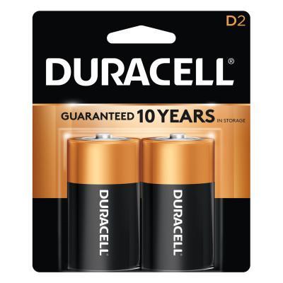 DURACELL CopperTop Alkaline Battery, 1.5V, D, 2/PK