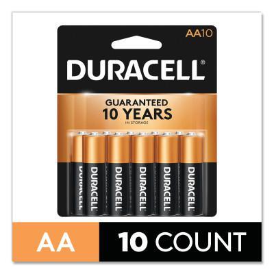 DURACELL CopperTop Alkaline Battery, 1.5V, AA, 10/PK