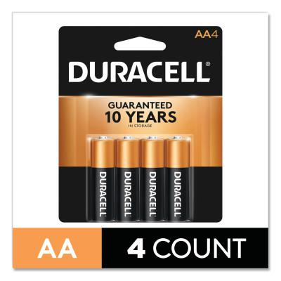 DURACELL CopperTop Alkaline Battery, 1.5V, AA, 4/PK