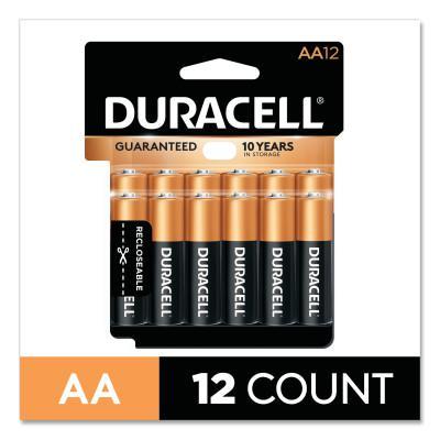 DURACELL CopperTop Alkaline Battery, 1.5V, AA, 12/PK