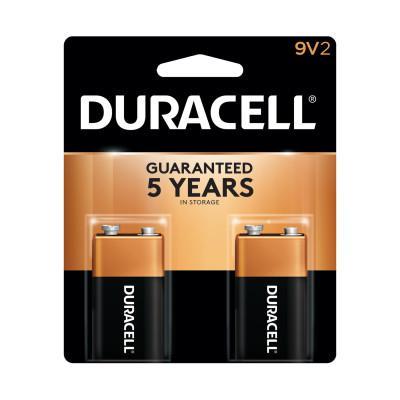 DURACELL CopperTop Alkaline Battery, 9V, 2/PK
