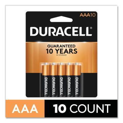 DURACELL CopperTop Alkaline Battery, 1.5V, AAA, 10/PK