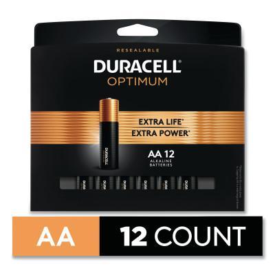 DURACELL Optimum Alkaline Battery, AA, 12/PK