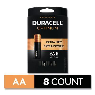 DURACELL Optimum Alkaline Battery, AA, 8/PK