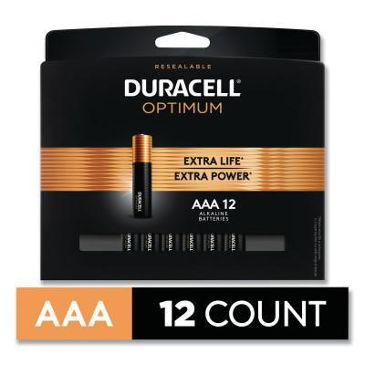 DURACELL Optimum Alkaline Battery, AAA, 12/PK