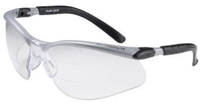 SAFEWAZE BX Safety Eyewear, +1.5 Diopter Polycarbon Anti-Fog Lenses, Silver/Black Frame