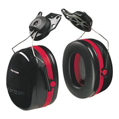PELTOR Optime 105 Earmuffs, 27 dB NRR, Black/Red, Cap Attached