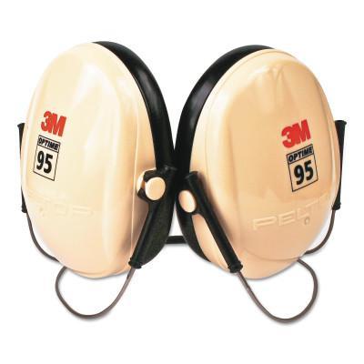 PELTOR Optime 95 Earmuffs, 21 dB NRR, White/Black, Behind the Head