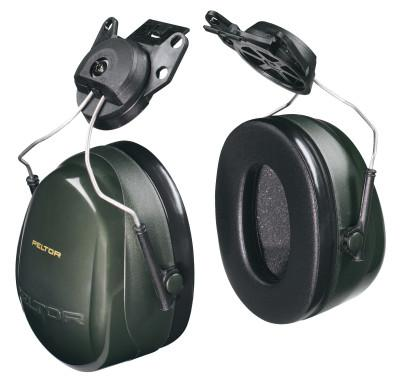 PELTOR Optime 101 Earmuffs, 24 dB NRR, Dark Green, Cap Attached
