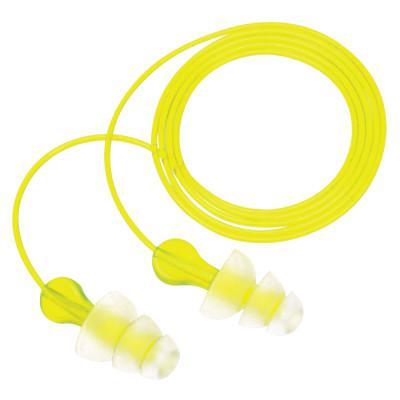 3M Tri-Flange Earplugs, Polyurethane, Yellow, Uncorded