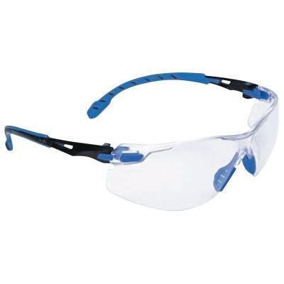 SAFEWAZE Solus 1000-Series Protective Eyewear, Clear Lens, Anti-Fog, Black/Blue Frame