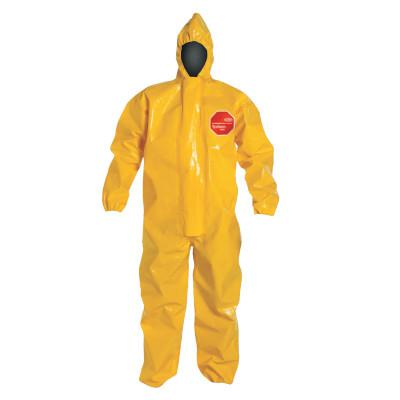 DUPONT Tychem BR Coveralls with Zipper and Hood, High Visibility Yellow, Large
