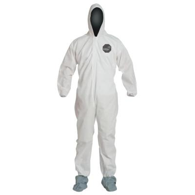 DUPONT Proshield 10 Coveralls White with Attached Hood and Boots, White, Medium