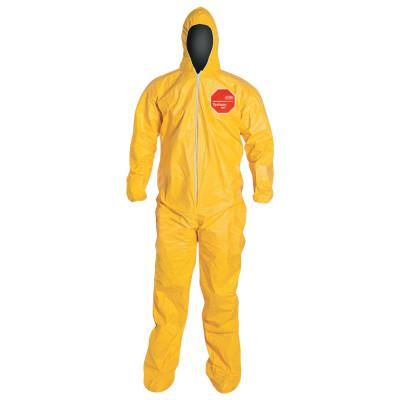 DUPONT Tychem 2000 Coveralls with Attached Hood and Socks, 4X-Large, Yellow