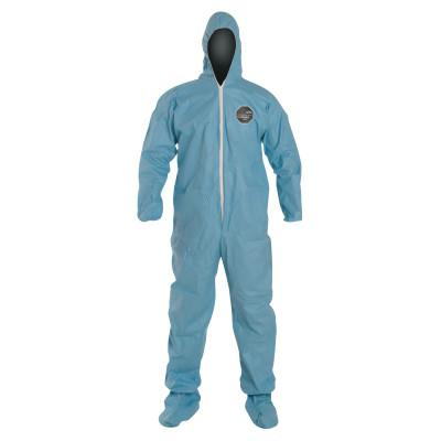 DUPONT Tempro Coveralls with Attached Hood and Integrated Socks, Blue, 2X-Large