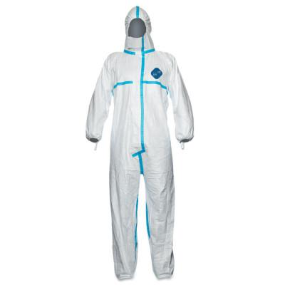 DUPONT Tyvek Plus Type 4/5/6 Coverall with Hood, Blue/White, Medium