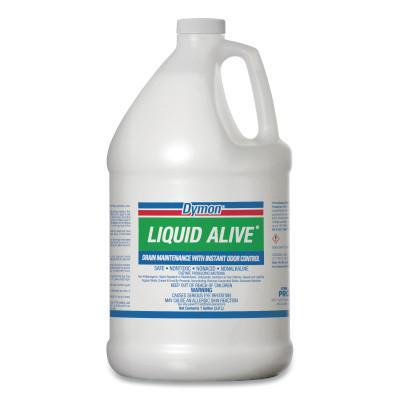 DYMON LIQUID ALIVE® Drain Maintenance, Enzyme Producing Bacteria, 1 gal, Bottle, 4/CA