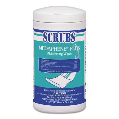 SCRUBS MEDAPHENE Plus Disinfecting Wipes, White, 65 Wipes/Container, 6/Case