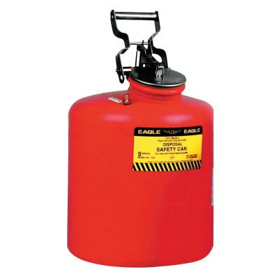 EAGLE MFG Waste Disposal Cans, Hazardous Waste Can, 5 gal, Red, Galvanized Steel
