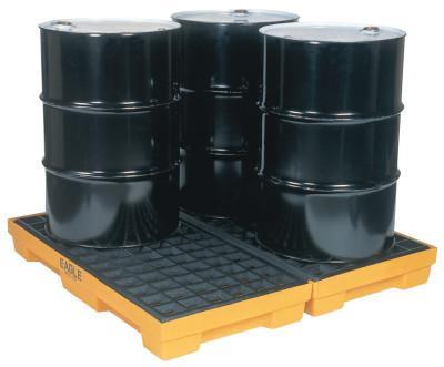 EAGLE MFG 4-Drum Modular Platforms, Yellow, 10,000 lbs, 30 gal/side, 51 1/2 in x 52 1/2 in