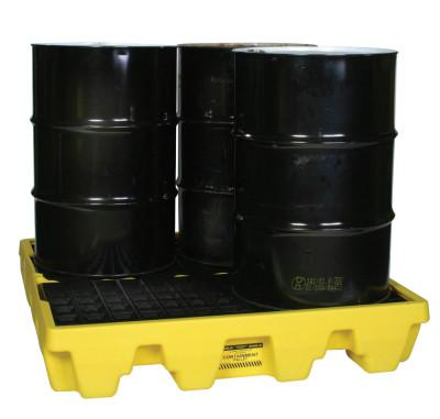 EAGLE MFG Spill Containment Pallets, Yellow, 8,000 lbs, 66 gal, 51 1/2 in x 51 1/2 in