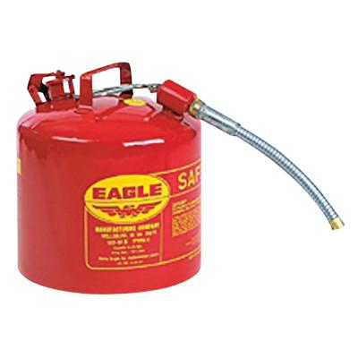 EAGLE MFG Type ll Safety Cans, Flammable Storage Can, 2 gal, Red, 7/8 in. Flex Metal Spout