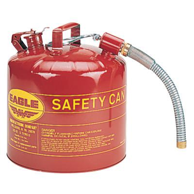 EAGLE MFG Type ll Safety Cans, Flammable Storage Can, 5 gal, Red, 7/8 in. Flex Metal Spout