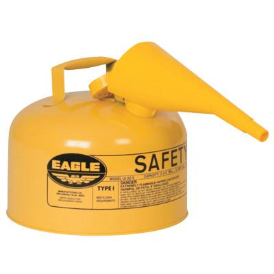 EAGLE MFG Type 1 Safety Can With Funnel, 2.5 gal, Steel, Yellow